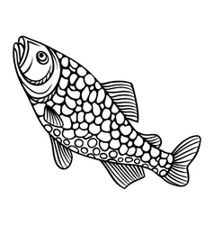 Abstract decorative fish on white background vector image vector image