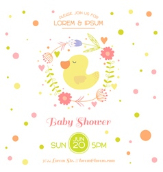 Baby Shower Card - with Cute Duck vector image vector image