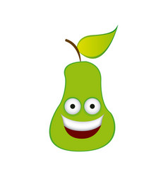 color kawaii fruit pear happy icon vector image