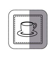 contour emblem cup with plate icon vector image vector image