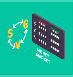 Currency exchange and table of money market icon vector