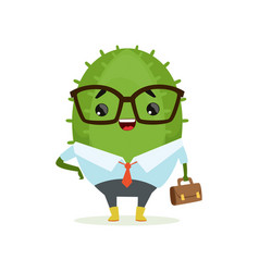 cute cactus businessman funny plant character in vector image vector image