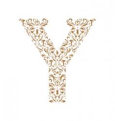 floral letter y ornament font vector image vector image