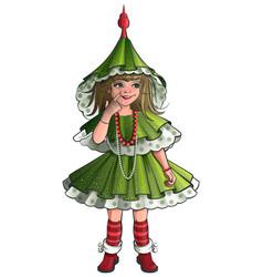 girl new year costume green christmas tree vector image