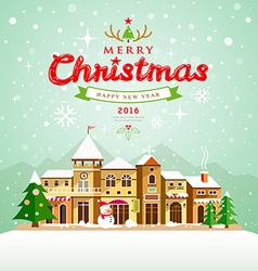 Merry Christmas lettering with houses snow vector image