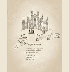 milan city landmark travel italy engraved sign vector image vector image