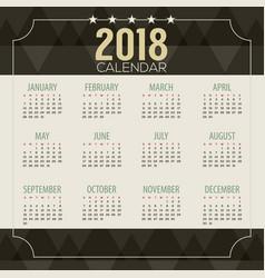 2018 dark geometric pattern printable calendar vector
