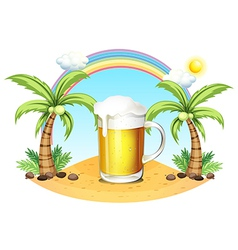 A glass of beer at the beach vector image vector image