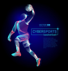 abstract basketball dribble player male figure in vector image