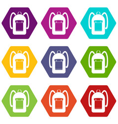 Backpack icon set color hexahedron vector