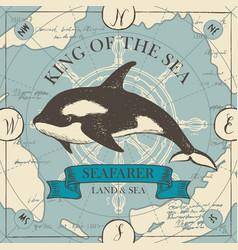banner with big hand-drawn killer whale vector image