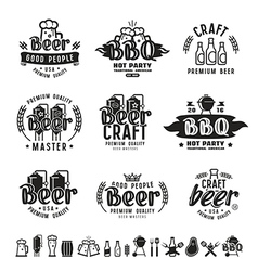 Barbecue and craft beer brewery emblems vector