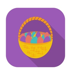 Basket of eggs single icon vector image