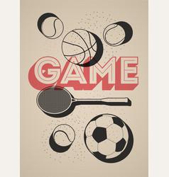 basketball football tennis balls and racket vector image