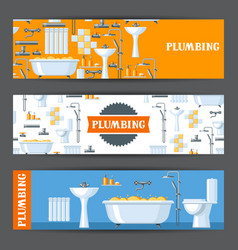 bathroom interior plumbing banners vector image