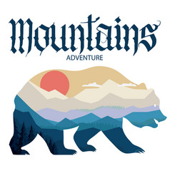 Bear and nature double exposure mountain vector