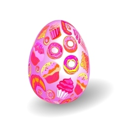 Beautiful painted easter egg on white background vector