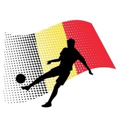 Belgium soccer player against national flag vector