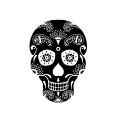 black sugar skull with doodle floral pattern vector image