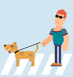 Blind and dog guide vector