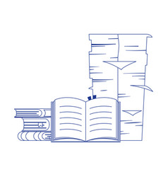 books stack and pile papers office isolated icon vector image