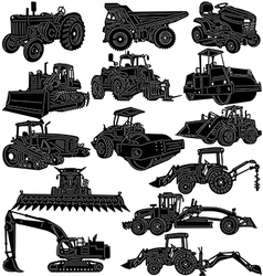 Building and Farm Equipments detailed silhouette vector