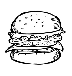 burger doodle vector image