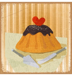 cake for Valentines Day a knife and scapula vector image