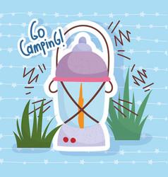 camping lantern nature vacations activity vector image