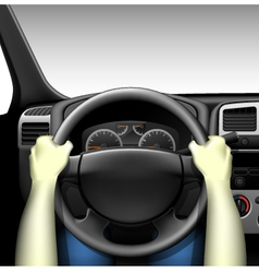 Car driver - car interior with dashboard vector