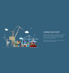 cargo seaport with container ship banner vector image