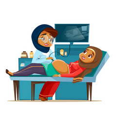 cartoon arab ultrasound pregnancy screen vector image