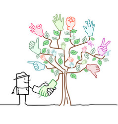 Cartoon gardener shaking hands with a tree and vector