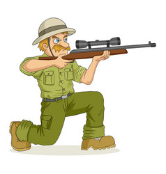 Cartoon of a hunter aiming a rifle vector