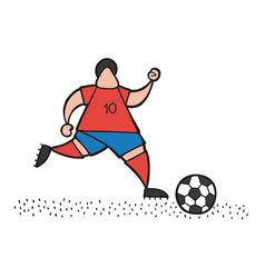 Cartoon soccer player man running and dribble vector