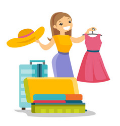 Caucasian white woman packing clothes in suitcase vector