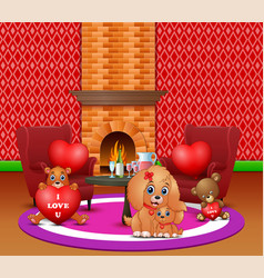 Celebrating a valentines day with dogs and teddy b vector