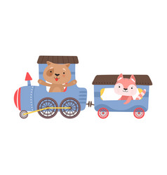 Cheerful red cheeked cats driving toy train vector