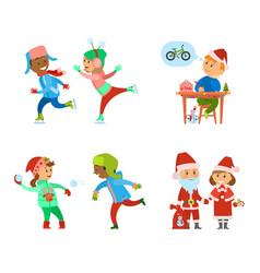Children having fun on christmas holidays days vector
