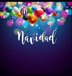 Christmas with spanish feliz navidad vector
