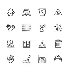 Cleaning home and office outline icon simple vector