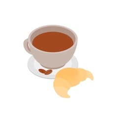 Coffee cup with a croissant icon vector image