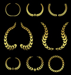collection golden laurel leaves vol 2 vector image