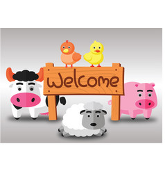 color flat farm of cows pig hen duck and sheep vector image