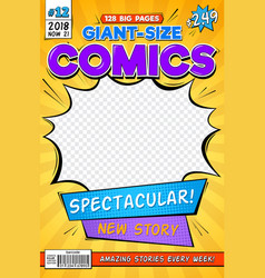 Comic book cover vintage comics magazine layout vector