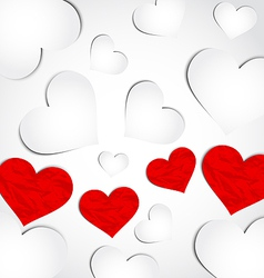 Cute background for Valentines day with paper vector image
