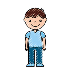 Cute boy character icon vector