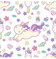 cute kawaii unicorn with magical elements and ice vector image