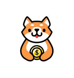 Cute shiba inu money coin dog cartoon logo icon vector