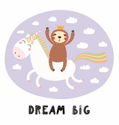 Cute sloth riding a unicorn vector